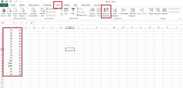 داده های تکراری در اکسل