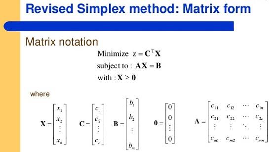 سیمپلکس ماتریسی / سیمپلکس تجدید نظر شده